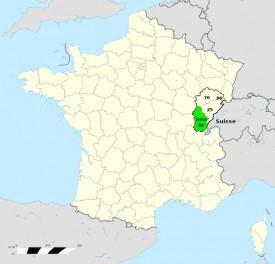 Accès et localisation du département du Jura à l'est de la France et au sud de la Franche-comté