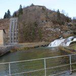Les pertes de l'Ain et central hydroélectrique à gauche - photo du 12 mars 2017