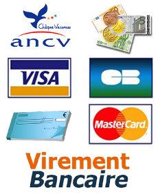 Moyens de paiement de votre hebergement ou repas à l'Auberge du tilleul - Chèques vacances, Espèces, Chèques, Visa, MasterCard, Virement