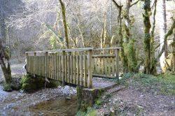 Petit pont en bois sur rivière